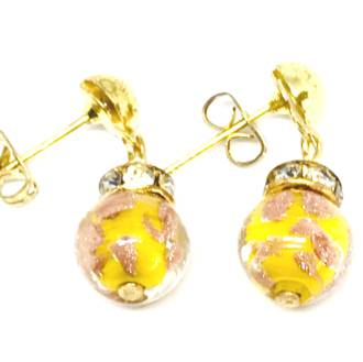 Murano Glass Bead Earrings - Fiorella - Yellow (Rose Gold Foil)