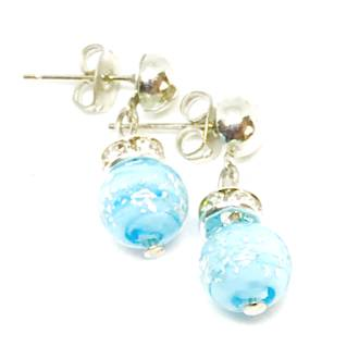 Murano Glass Bead Earrings - Fiorella Aqua (Silver Foil)