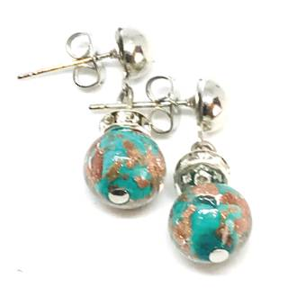Murano Glass Bead Earrings - Fiorella Aqua/Green (Rose Gold Foil)