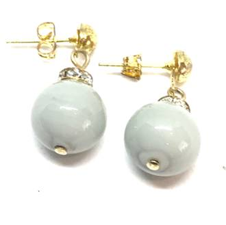 Murano Glass Bead Earrings - Estate - Grey