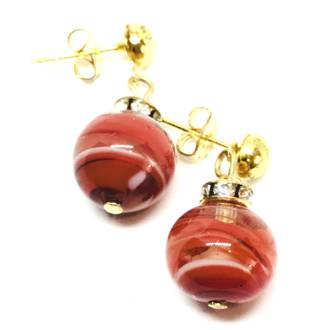 Murano Glass Bead Earrings - Estate - Red