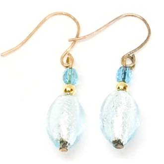 Murano Glass Bead Earrings - Acqua (pale blue/aqua)