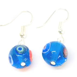 Murano Glass Bead Earrings - Carolina Blue 10mm