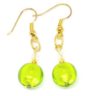 Murano Glass Bead Earrings - Mare (Lime Green-Gold)