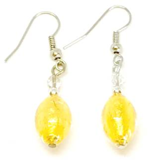 Murano Glass Bead Earrings - Acqua (gold)