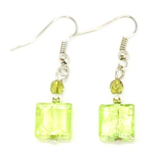 Murano Glass Bead Earrings - Sabbia (Green-silver)