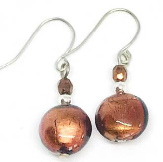 Murano Glass Bead Earrings - Mare (Brown/Silver Leaf)