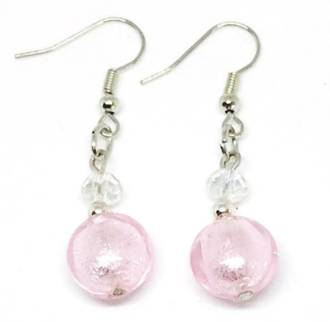 Murano Glass Bead Earrings - Mare (pink/silver)