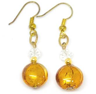 Murano Glass Bead Earrings - Mare (Brown/Gold Leaf)