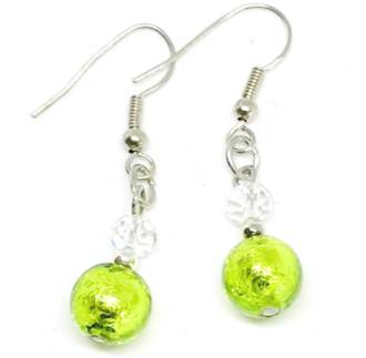 Murano Glass Bead Earrings - Oceano (Lime Green/Silver)