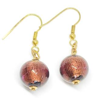 Murano Glass Bead Earrings - Marta (Bronze)