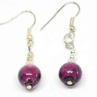 Murano Glass Bead Earrings - Oceano (Burgundy/Silver)
