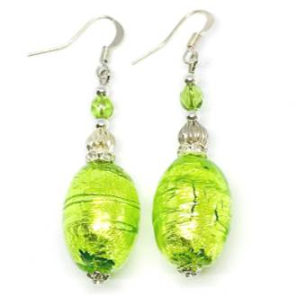 Murano Glass Bead Earrings - Oval (Green/Silver)