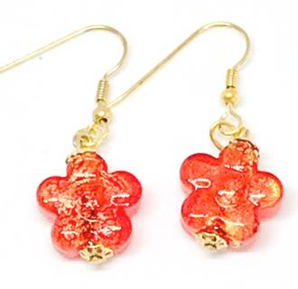 Murano Glass Bead Earrings - Simona Flowers (Red/Gold)