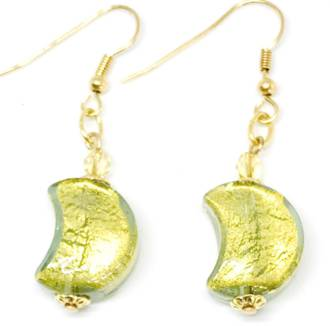 Murano Glass Bead Earrings - Simona Moon (Green/Gold)