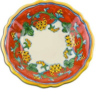 Hand-Painted Ceramics Corallo Serving Bowl Scalloped