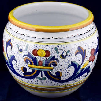 Hand-Painted Ceramics Ricco Deruta Cache Pot