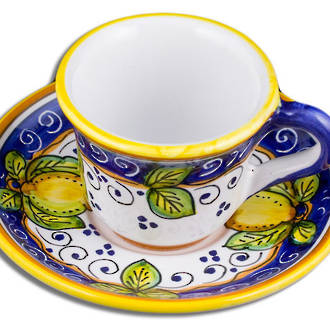 Hand-Painted Ceramics Dafne Espresso Coffee Cup and Saucer