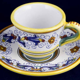 Hand-Painted Ceramics Ricco Deruta Coffee Cup and Saucer