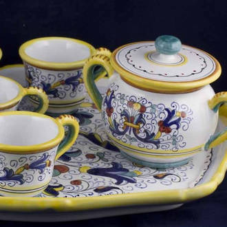 Hand-Painted Ceramics Ricco Deruta Espresso Coffee Set for Six