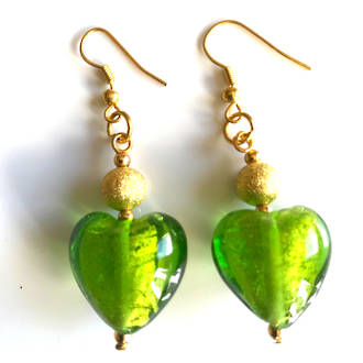 Murano Glass Bead Earrings - Hearts (green/gold)