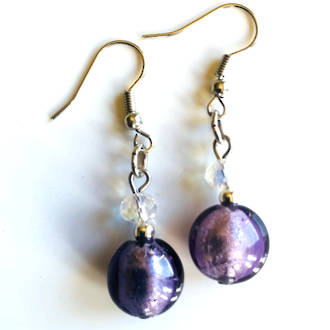 Murano Glass Bead Earrings - Mare (Lilac/Silver)