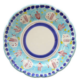 Hand-Painted Ceramics Pesce Side Plate Light Blue