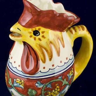 Hand-Painted Ceramics Corallo Rooster Jug Small