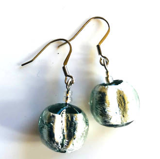 Murano Glass Bead Earrings - Elena (Grey/Silver)