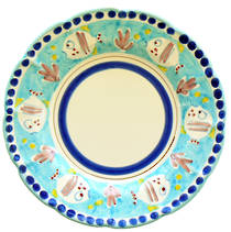 Hand-Painted Ceramics Pesce Dessert /Pasta plate Light Blue