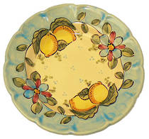 Hand-Painted Ceramics Vietri Dessert/Pasta Plate Light Blue