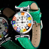 Millefiori Watch (Chrome) Green Strap