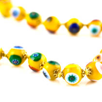 Millefiori Bead Necklace Nerida 8mm Ochre