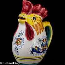 Hand-Painted Ceramics Ricco Deruta Rooster Jug (Small)