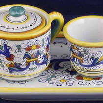 Hand-Painted Ceramics Ricco Deruta Espresso Coffee Set for Two 2