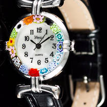 Murano Glass Millefiori Watch (Chrome) Black Strap