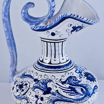 Hand-Painted Ceramics Blue Raffaellesque Amphora Jug