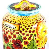 Hand-Painted Ceramics Papaveri Biscotti Jar 230mm