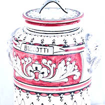 Hand-Painted Ceramics Fondo Rosso Biscotti Jar 230mm