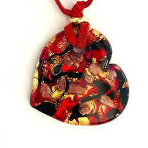 Murano Glass Heart Pendant with Gold Leaf - Red