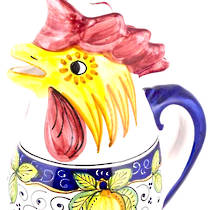 Hand-Painted Ceramics Dafne Rooster Jug Small/Medium/Large