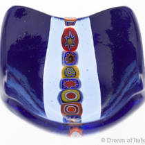 Murano glass dish- Blue with Millefiori Beads (2)