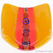 Murano glass dish - Yellow with Millefiori Beads
