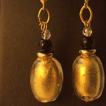 Murano Glass Earrings - Oval Gold Foil