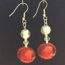 Murano Glass Bead Earrings - Serena  - White/Red