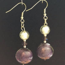 Murano Glass Bead Earrings - Serena  - White/Purple