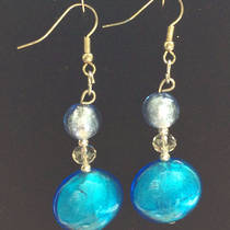 Murano Glass Bead Earrings - Serena - Pale Blue/Aqua
