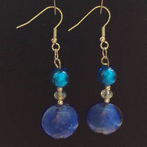 Murano Glass Serena Earrings - Aqua/Cobalt Blue