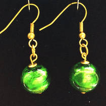 Murano Glass Marta Earrings - Green/Silver foil