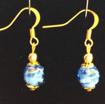 Murano Glass Bead Earrings - Corintia (blue/white/gold)